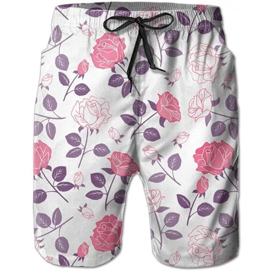 Beautiful Flowers Floral Fashion Summer Casual Beach Board Shorts Pants for Men Boys