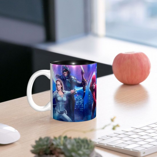 Green Arrow Kate Kane Oliver Queen Sara Lance Supergirl White Canary ceramics Coffee Mug for Latte or Hot Tea,Funny Coffee Mug, Microwave Safe, Won't Fade Away, Great Gift Cup Idea for Any Occasion Birthday 11OZ