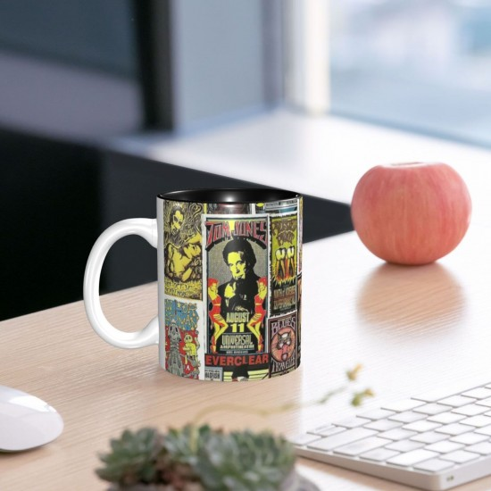Rock Concert Posters 1990s Collage ceramics Coffee Mug for Latte or Hot Tea,Funny Coffee Mug, Microwave Safe, Won't Fade Away, Great Gift Cup Idea for Any Occasion etc 11OZ