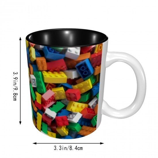 Lego Colorful Toy Bricks ceramics Coffee Mug for Latte or Hot Tea,Funny Coffee Mug, Microwave Safe, Won't Fade Away, Great Gift Cup Idea for Any Occasion Father's Day 11OZ