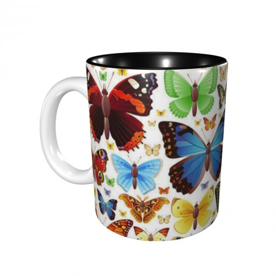 Artistique Colorful Couleurs Goutte D'Eau Papillon ceramics Coffee Mug for Tea,Funny Coffee Mug, Microwave Safe, Won't Fade Away, Great Gift Cup Idea for Any Occasion Birthday 11OZ